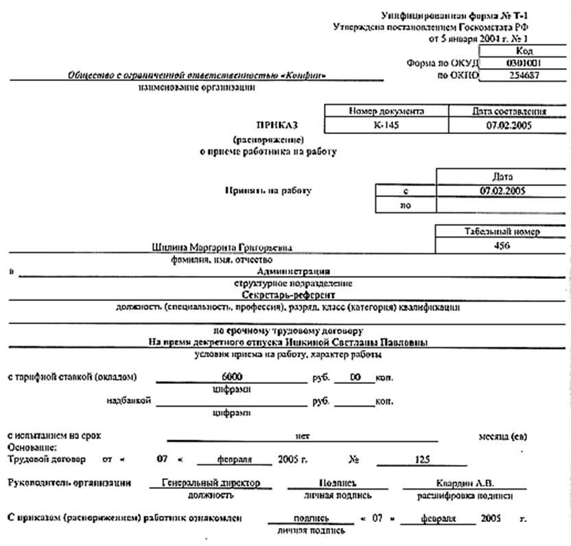 Образцы заявлений кадровых документов