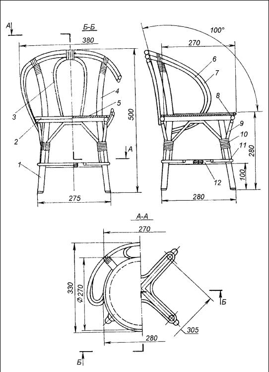 Кресло качалка чертежи из лозы