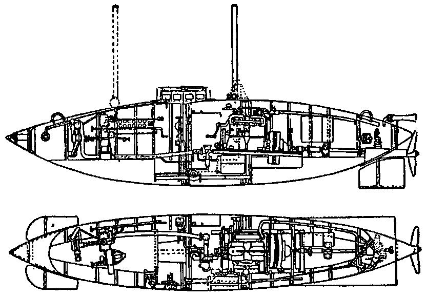 Схема подводной лодки «Кета»,