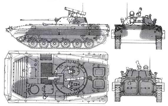Схема поражения БМП-1 в Чечне