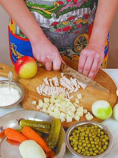 Фото с продуктами и салатами